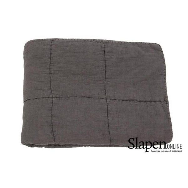 mrsbloom quilted cotton throw charlotte dark grey slapenonline