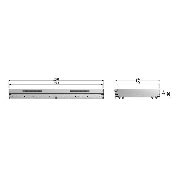 Tekening matras / Bedlade Steelgrey Geborsteld