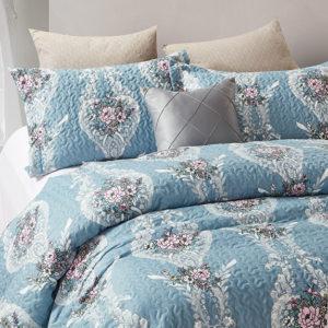 Bedsprei Retro Flower Blue