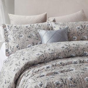 Bedsprei Classic Flower Grey